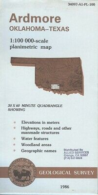 USGS Topographic Map  ARDMORE Texas 1986 - 100K -