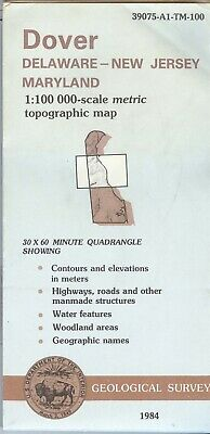 USGS Topographic Map DOVER Delaware New Jersey Maryland - 1984 - 100K -