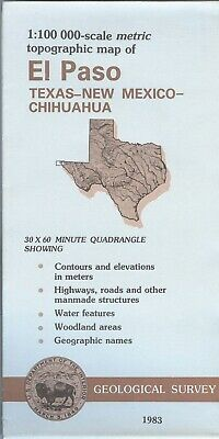 USGS Topographic Map EL PASO - USA Texas New Mex. - Mexico Chihuahua - 1983 100K
