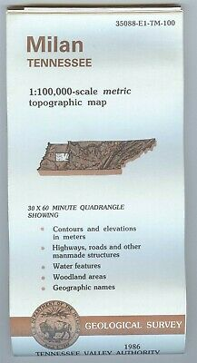 USGS Topographic Map MILAN - TVA - Tennessee - 1986 - 100K -