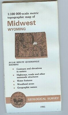 USGS Topographic Map  MIDWEST Wyoming 1981 - 100K -