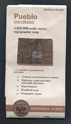 USGS topographic map PUEBLO Colorado USA 1:250,000 - 1989