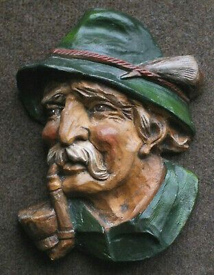 Black Forest Carved Wood Plaque; Bavarian Man & Pipe; Great 3-D Character Piece