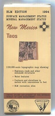USGS BLM edition topographic map New Mexico TAOS 1994 mineral + surface 100K