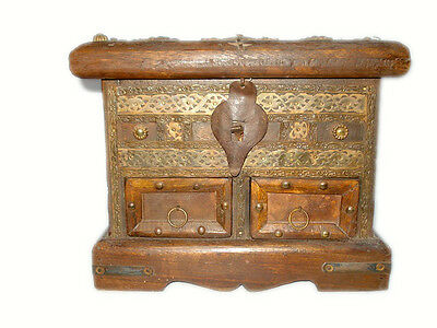 Vintage Style Wooden Box With Brass Fittings And Multi Compartments.G62-172 AU