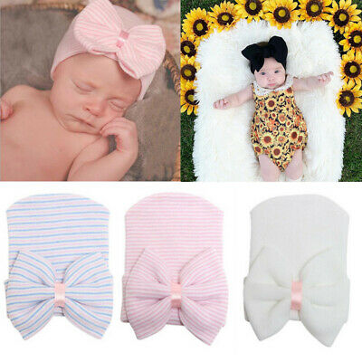 Baby Girls Boys Infant Striped Soft Hat with Bow Hospital Newborn Beanie Gifts