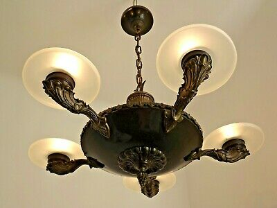 Stunning Vintage French 1940s 5 Arm Chandelier Bronze Effect Metal & Glass 1809