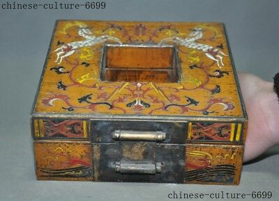 "7"" Rare old Chinese lacquerware wood carving Sika deer Storage Jewelry box case"