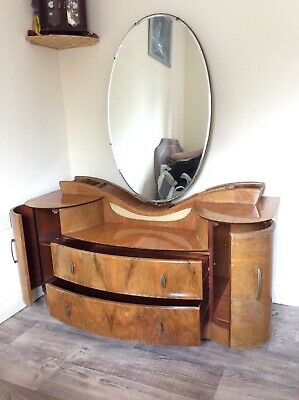 Art Deco Beautility Dressing Table Walnut 50's Retro,  large oval mirror