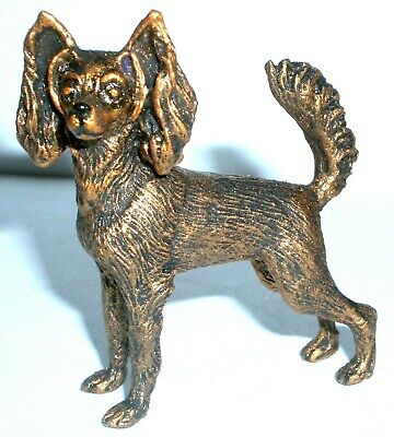 Pewter Hand Made Miniature L-G Haired Toy Terrier Dog In Bronze Colour Statuette