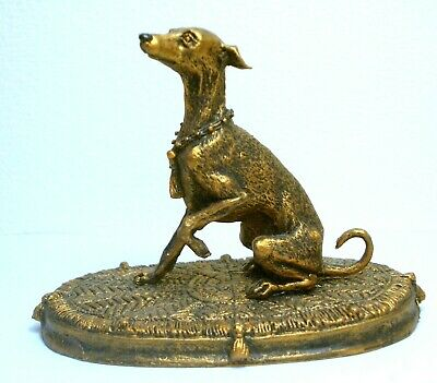 """Pewter Hand Made  Miniature Figurine Of """"Greyhound On A Rug"""" Bronze Colour Dog"""