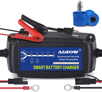 ADPOW 5A 12V Automatic Smart Battery Charger Automotive Maintainer 7-Stages T...