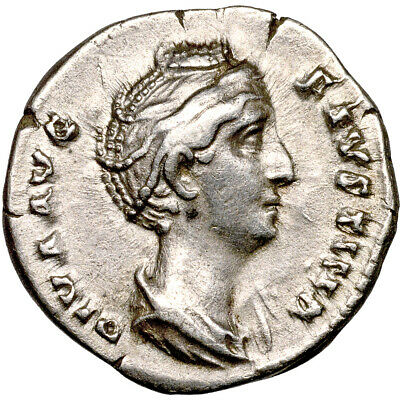 Faustina I. AR denarius.   Wife of Antoninus Pius..   Nearly EF. 9121