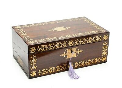 Antique William Colsey Mansion House London Rosewood & Brass Writing Slope Box