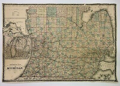 """Antique 1873 Sectional Map of MICHIGAN, 32 3/4"""" x 22 1/2"""""""