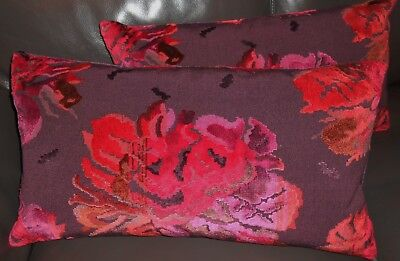 Dedar Throw pillows KARABAGH cut velvet fabric floral design custom new PAIR