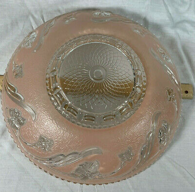 Vintage 1920/40 Floral Frosted Glass Light Shade Art Deco Ceiling Fixture Sconce