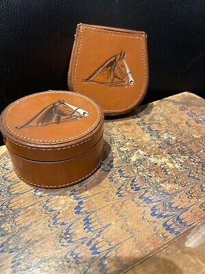 2 X Vintage Arden Forest Hide Leather Stud Link Boxes Horses Head,equestrian.
