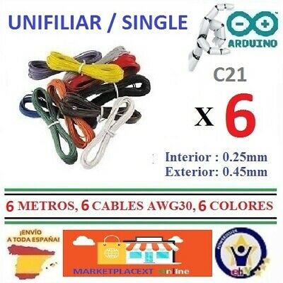 6 Cables de 1 Metro AWG30 UNIFILIAR WRAPPING WIRE Cord Electronica Robotic  CA21