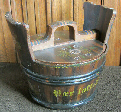 Antique Large Tine Box Norway? Folk Art 1896- Nicely painted - Rare piece