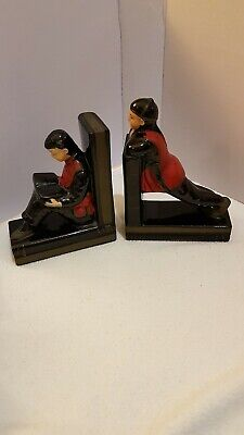 Vintage Asian Boys (Black, Red & Gold) Hand Painted Ceramic Bookends