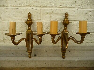 Vintage Pair Gilt Brass Twin Branch Wall Lights Sconces Mid 20th Century Project