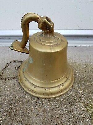 Vintage wall mounted bell with chain marine ship school last orders pub