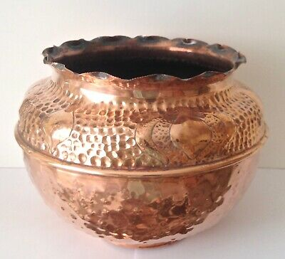 COPPER ARTS & CRAFTS JARDINIERE - EMBOSSED MOTIFS/HAMMERED FINISH - EARLY 1900's