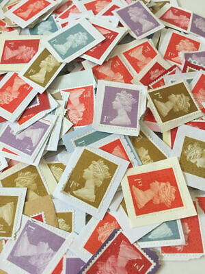 100 x 1st or 2nd Class Unfranked Stamps On PaperWITH MINOR FAULTS