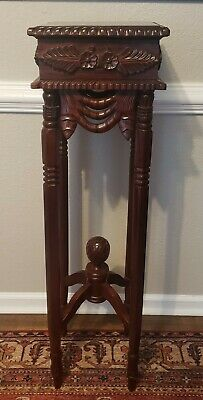 Hand-carved vintage wood rosewood Pedestal Plant Fern Stand Free shipping!