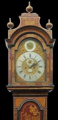 Early Longcase Clock. Jos Austin London. Red Lacquer Case. Month of Year in Arch