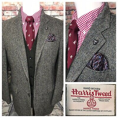 Harris Tweed Jos A Bank Green Gray Herringbone Sport Coat Jacket Mens 42 Regular