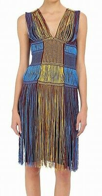 M Missoni Womens Dress Yellow Blue Red Size 10 Fringe Knit V-Neck $1180- 098