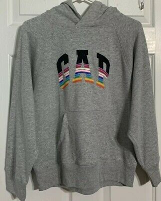 Girls Large Grey Gap Pullover Hoodie With Rainbow Logo *New With Tags*