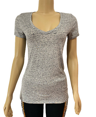 VICTORIAS SECRET Pink Everyday V-Neck Tee T-shirt Top Marled Grey