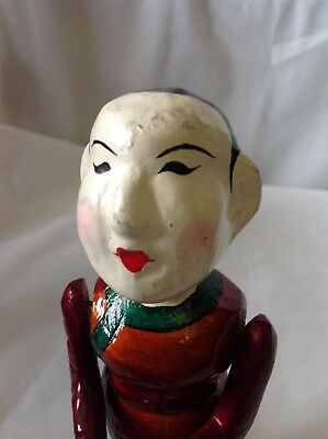 Rare Asian Hand Carved and Painted Wood Jointed Figure Playing the Flute L@@K