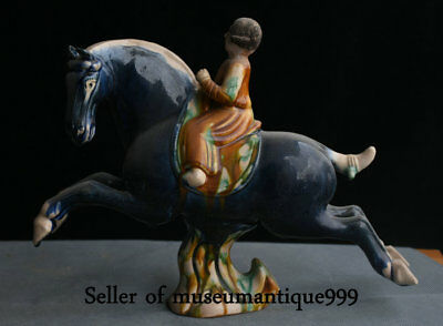 "12.4"" Old Chinese Tang Sancai Porcelain Pottery Dynasty Man Ride Horse Sculpture"