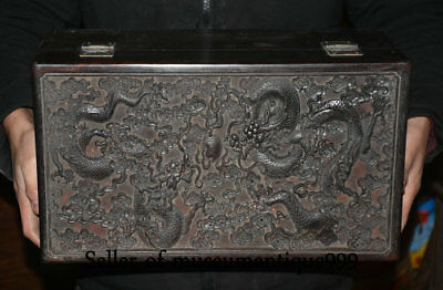 """16.8"""" Old Chinese Rosewood Wood Dynasty Carved Dragon Ball Box cabinet cupboard"""
