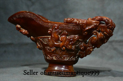 """9.2"""" Marked Ancient Chinese Ox Bull Horn Dynasty Pixiu Beast Wineglass Wine Pot"""