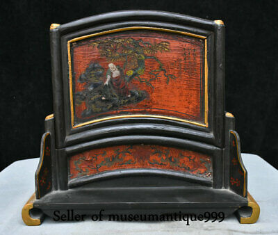 "13.2"" Ancient China Old Lacquerware Wood Dynasty Lohan Buddha Folding Screen"