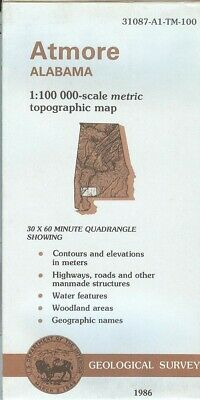 USGS Topographic Map ATMORE Alabama 1986 - 100K -