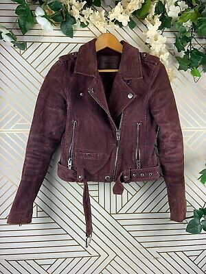 BLANK NYC Women Maroon Burgundy Suede Leather Moto Jacket Size Small