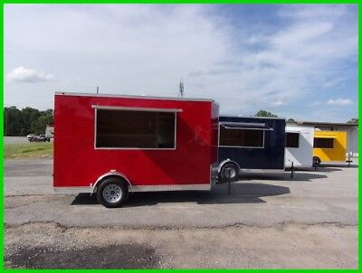 2' v nose 6x12 enclosed cargo vending concession trailer 3x6 serving window Red