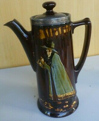 Doulton Kingsware tall coffee pot 175 mm PIED PIPER man with flute silver rim