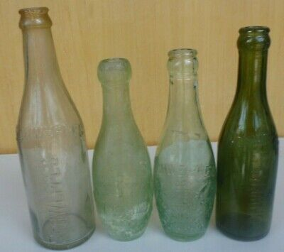 4 Nice glass SCHWEPPES bottles, 3 crown seals and a blob top