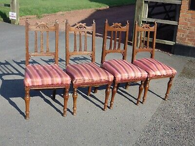 Antique Vintage Arts And Crafts Solid Oak Dining Chairs For Restoration