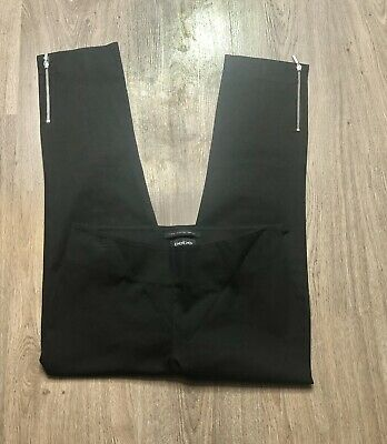 Bebe Pants Women's Size 4 Cropped Pants Black Flat Front Zipper Ankles Tapered