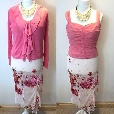 FENN WRIGHT MANSON Size 14 Outfit Top Skirt & Cardigan Pink Silk Wedding Party
