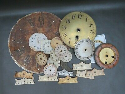 Job lot of vintage & modern clock dials faces & beat plaques - parts spares