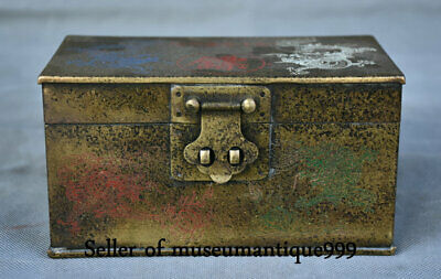 """6"""" Marked Old China Bronze Painted Dynasty Double Dragon jewelry Box cabinet"""